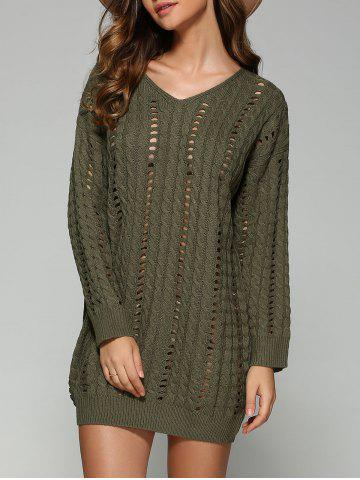 Shop Casual V Neck Openwork Cable Knit Jumper Dress BLACKISH GREEN ONE SIZE