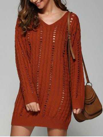 Casual V Neck Openwork Cable Knit Jumper Dress - Darksalmon - One Size