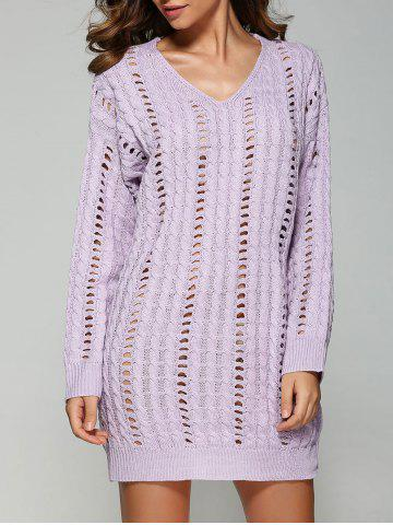 Trendy Casual V Neck Openwork Cable Knit Jumper Dress LAVENDER ONE SIZE