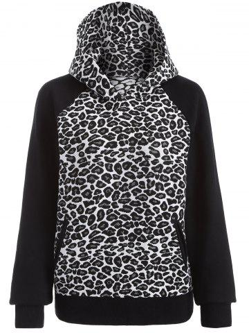 Sale Raglan Sleeve Leopard Hoodie WHITE AND BLACK 2XL