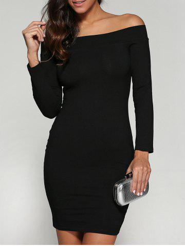 Discount Off Shoulder Bodycon Skinny Long Sleeve Dress BLACK L