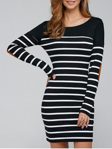 Elbow Patch Striped Long Sleve T-Shirt Dress - Stripe - S