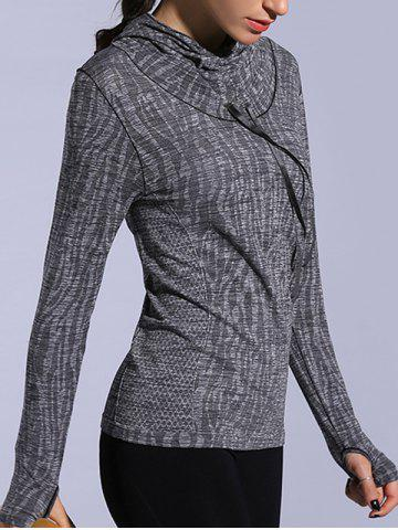 Best Dry-Quick Heathered Drawstring Hoodie - L GRAY Mobile