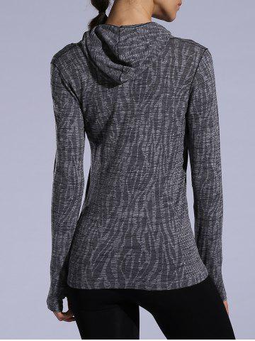 Affordable Dry-Quick Heathered Drawstring Hoodie - L GRAY Mobile