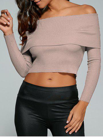 New Fitted Off The Shoulder Jumper NUDE PINK M