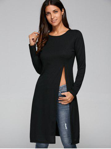 Outfits Round Neck Long Sleeve High Slit Fitting T-Shirt