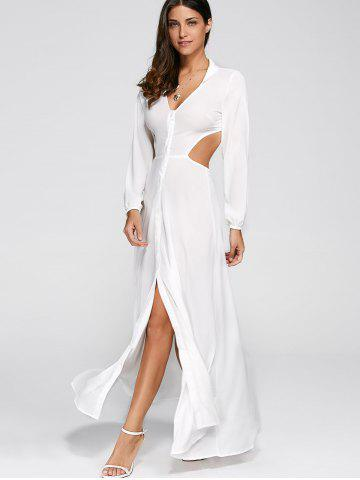 Discount Plunging Neck Cut Out High Slit Dress