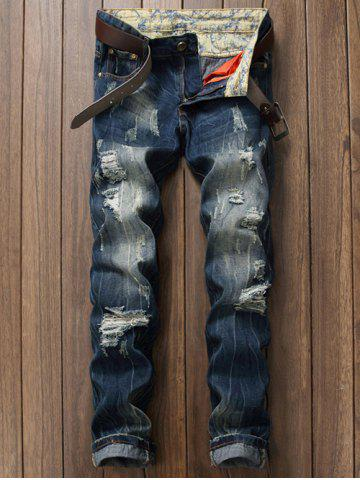 Scratched Zipper Fly Ripped Jeans - Blue - 29