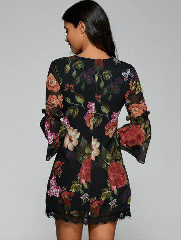 Fashion Bell Sleeves Floral Print Laciness Dress - M BLACK Mobile