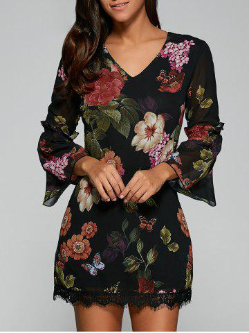 Hot Bell Sleeves Floral Print Laciness Dress - M BLACK Mobile