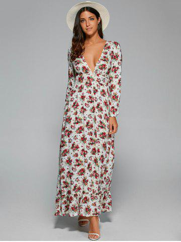 Latest Plunging Neck Long Sleeve Maxi Floral Dress WHITE XL