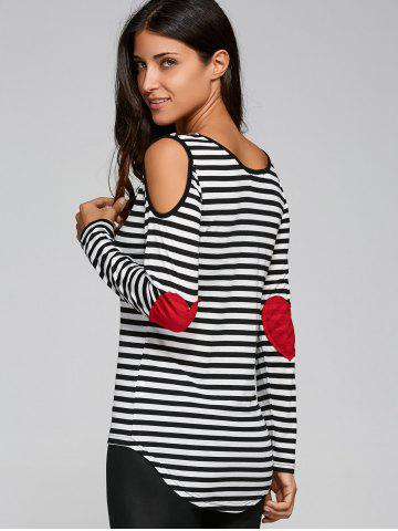 Buy Long Sleeve Scoop Neck Casual Striped Cold Shoulder T-Shirt BLACK 2XL