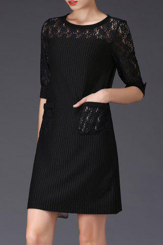 Discount Stripe Lace Insert Shift Dress - S BLACK Mobile