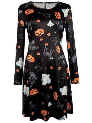 Store Pumpkin Halloween Print Long Sleeve Mini Swing Dress BLACK XL