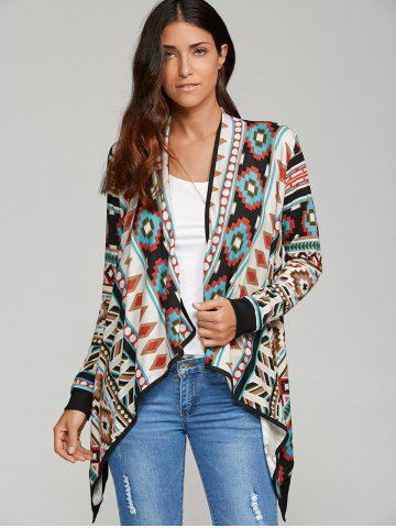 New Geometric Print Contrast Trim Cardigan
