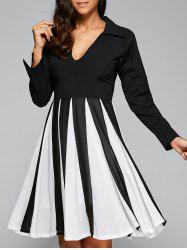 V Neck Patchwork Skater Dress with Sleeves - WHITE AND BLACK XL