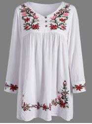 Ruffle Flower Embroidered Dress -