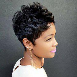 Spiffy Ultrashort Boy Cut Curly Capless Real Natural Hair Wig -