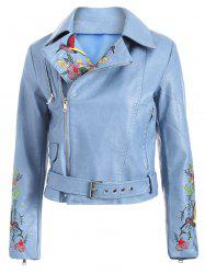 Fashion Zipper Fly Bird Embroidered Faux Leather Jacket -