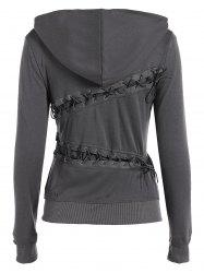 Trendy Hooded Long Sleeve Lace-Up Solid Color Women's Hoodie - GRAY