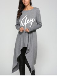 Graphic Print Asymmetrical Dress - GRAY