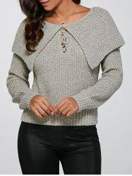 Lace-Up Pullover Knitted Sweater -