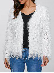 Feather Tassels Hand-Knitted Cardigan - WHITE L