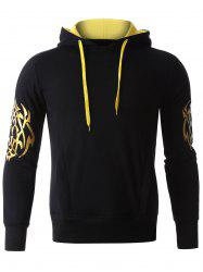 Golden Printed Long Sleeve Hoodie - BLACK XL