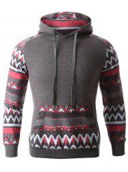 Geometric Print Spliced Raglan Sleeve Hoodie - DEEP GRAY