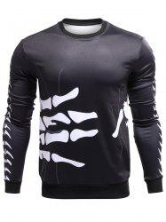 3D Surround Bones of Hand Print Crew Neck Sweatshirt