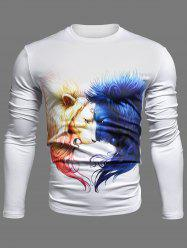 Crew Neck 3D Symmetrical Lion Print Long Sleeve T-Shirt -