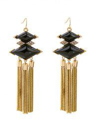 Bohemia Rhombus Rhinestone Faux Gem Chain Tassel Earrings