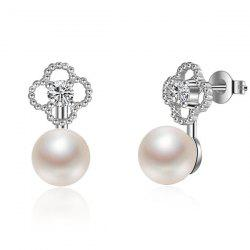 Rhinestoned Flower Fake Pearl Drop Earrings