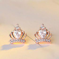 Fake Crystal Rhinestone Crown Earrings