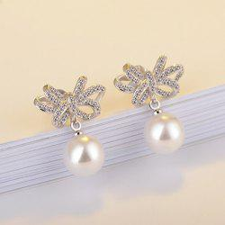 Fake Pearl Rhinestone Flower Drop Earrings
