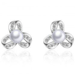 Fake Pearl Rhinestone Hollowed Flower Earrings