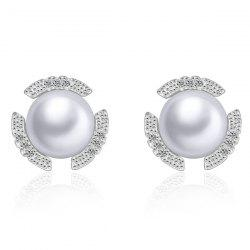 Rhinstoned Fake Pearl Bud Shape Earrings