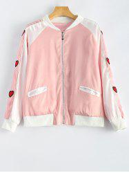 Heart Appliqued Letter Embroidery Jacket -