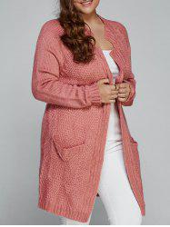 Plus Size Fisherman Knitted Pocket Long Cardigan - LIGHT PINK