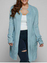 Plus Size Fisherman Knitted Pocket Long Cardigan - LIGHT BLUE
