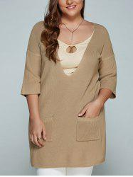 Plus Size Plunge Neck Front Pocket Knitwear