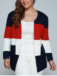 Color Block Plus Size Cardigan With Pockets - RED