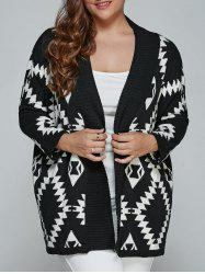 Plus Size Geometric Loose Sweater Kimono Cardigan - BLACK