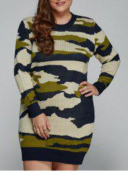 Plus Size Camo Print Fitted Sweater Dress