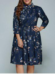 Plus Size Midi Printed Long Sleeve Shirt Dress