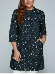 Plus Size Stars Printed Loose Sun-Proof  Coat - BLACK