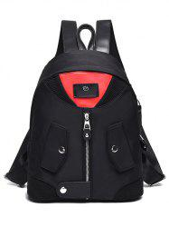 Snap Closure Nylon Colour Block Backpack - RED WITH BLACK