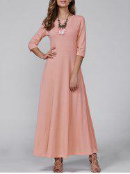 3/4 Sleeve Vintage Maxi Flowing Dress - PINK XL
