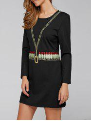 Lipstick Pattern Embroidered Dress -
