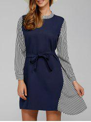 Patchwork Striped Tied Dress